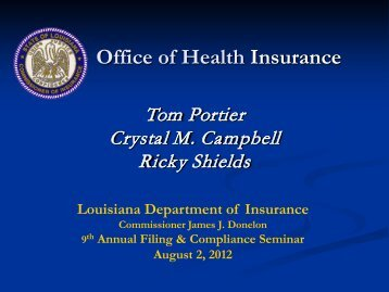 Health Form Filing - Louisiana Department of Insurance