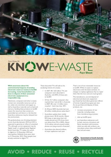 E-waste fact sheet from Zero Waste SA - Zero Waste SA - SA.Gov.au