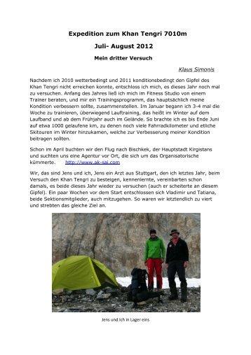 Bericht Khan Tengri 2012 - Sektion Karpaten