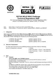 ROTAX MOJO MAX Challenge Technical Regulations 2009