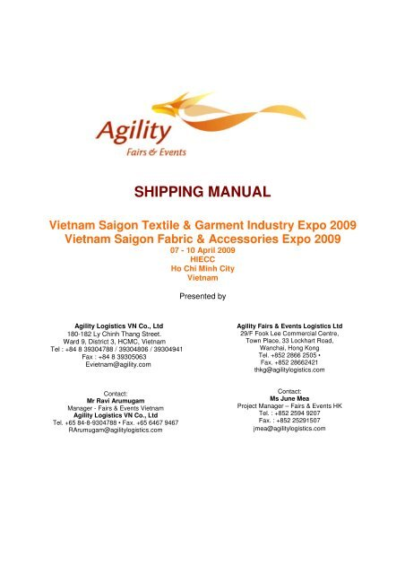 SHIPPING MANUAL Vietnam Saigon Textile & Garment Industry