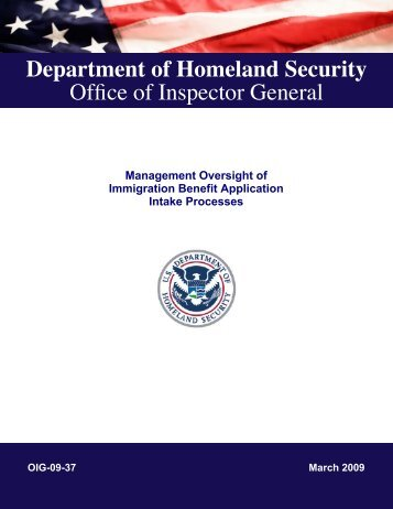 Management Oversight of Immigration Benefit Application Intake ...