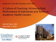 Response to the 2012 Question of the Year A Culture of Coaching ...
