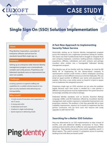 Single Sign On Solutions
