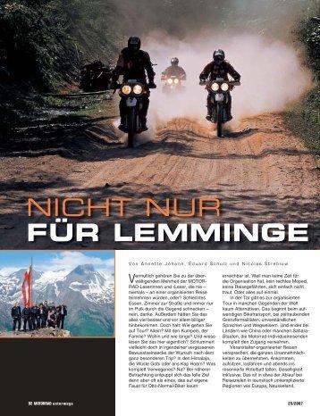 NICHT NUR FÜR LEMMINGE - MOTORRAD online