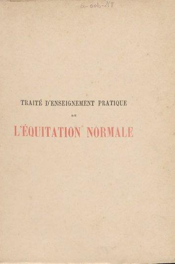 l'équitation normale - Centre de documentation de l'Ecole Nationale ...