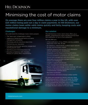 Minimising cost of motor claims May 2012 1MB - Hill Dickinson