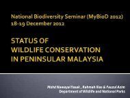Status of Wildlife Conservation in Malaysia by DWNP - NRE