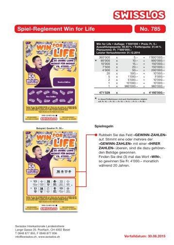 Spiel-Reglement Win for Life No. 785 - Swisslos