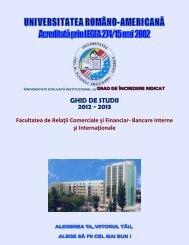 Ghid de studii - RCFBII - Universitatea Româno-Americană