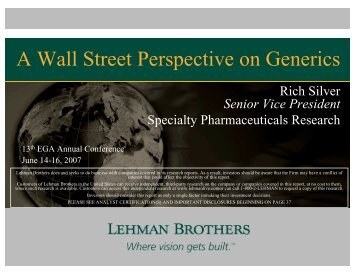 A Wall Street Perspective on Generics