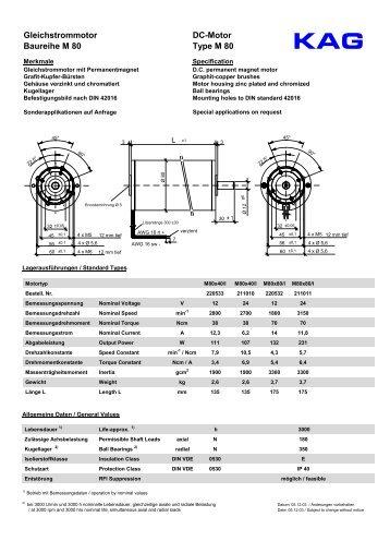 Gleichstrommotor Baureihe M 80 DC-Motor Type M 80 - Grp6.com