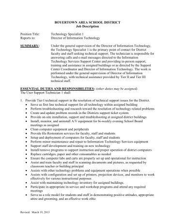 Job Description: Technology Specialist 1 - Boyertown Area School ...