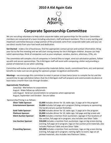Corporate Sponsorship Committee - A Kid Again