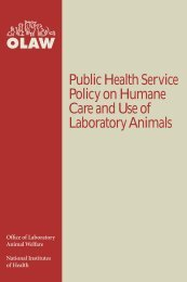 PHS Policy on Humane Care and Use of Laboratory Animals (8/02 ...