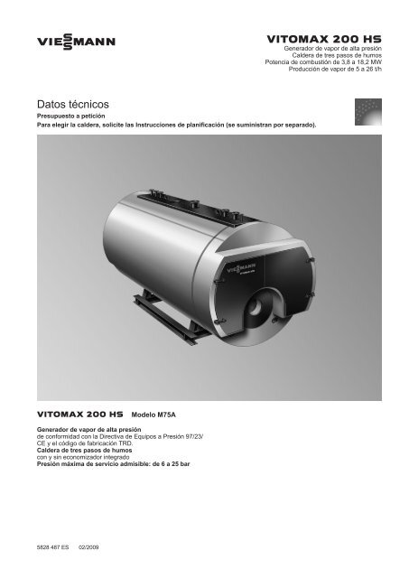 Datos técnicos Vitomax 200-HS M75A - Viessmann