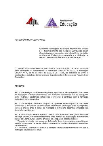 RESOLUÇÃO Nº. 001/2011/FACED Apresenta a concepção de ...