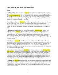 Ohioana Library: Author Bios for the 2011 Ohioana Book Award ...