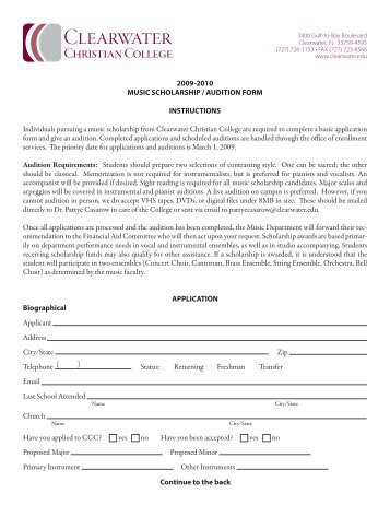Music Scholarship Audition Form  High Point University
