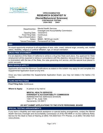 Exam Bulletin - Mental Health Services Oversight and Accountability ...