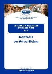 TABLE OF CONTENTS - Veterinary Medicines Directorate - Defra