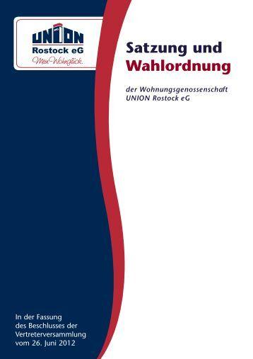Satzung und Wahlordnung - WG Union Rostock eG
