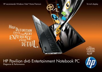 HP Pavilion Dv6 Entertainment Notebook PC - Hewlett Packard