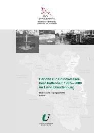 Bericht zur Grundwasser - Land Brandenburg