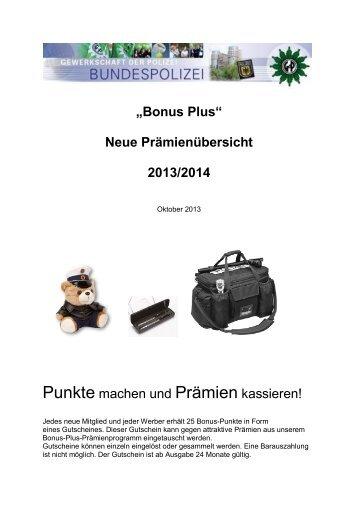 NEU: Prämienübersicht 2013/14