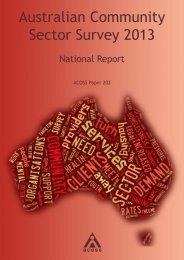 ACOSS Australian Community Sector Survey 2013