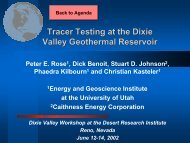 Recent Tracer Testing at Dixie Valley