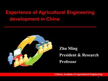 Experience of Agricultural Engineering development in China - CSAM