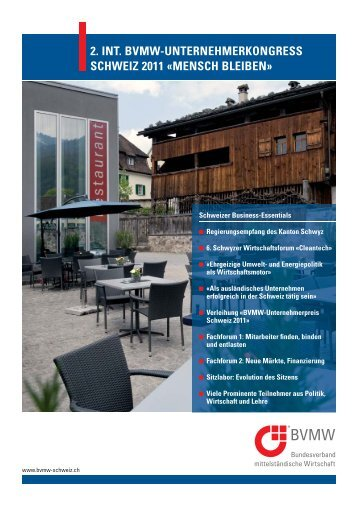 2. int. bvmw-unternehmerkongress schweiz 2011 Â«mensch bleiben