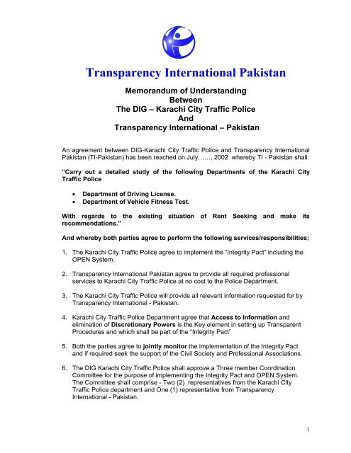Memorandum of Understanding - Transparency International