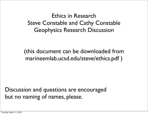 Ethics in Research Steve Constable and Cathy Constable