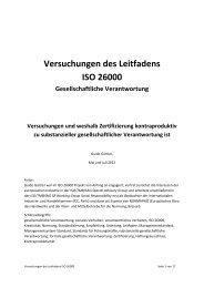 Versuchungen des Leitfadens ISO 26000 - ISO 26000, an estimation