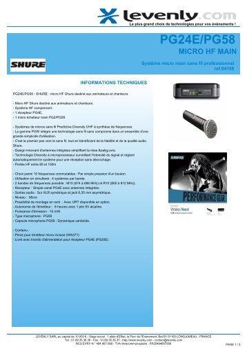 Fiche produit SHURE - PG24E/PG58, MICRO HF MAIN ... - Levenly