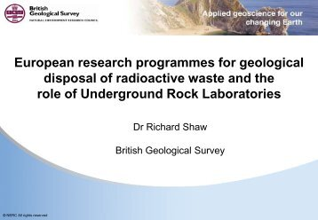 European research programmes for geological disposal of ...