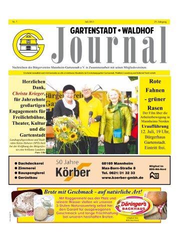 Gartenstadt Waldhof Journal Juli 2013 - Bürgerverein Gartenstadt