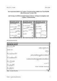 Korrespondenztabelle zur Laplace-Transformation mithilfe des ...