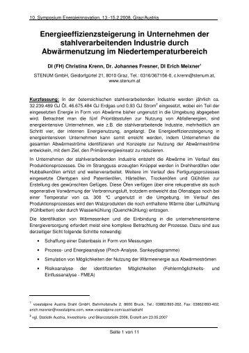 10. Symposium Energieinnovation - STENUM GmbH