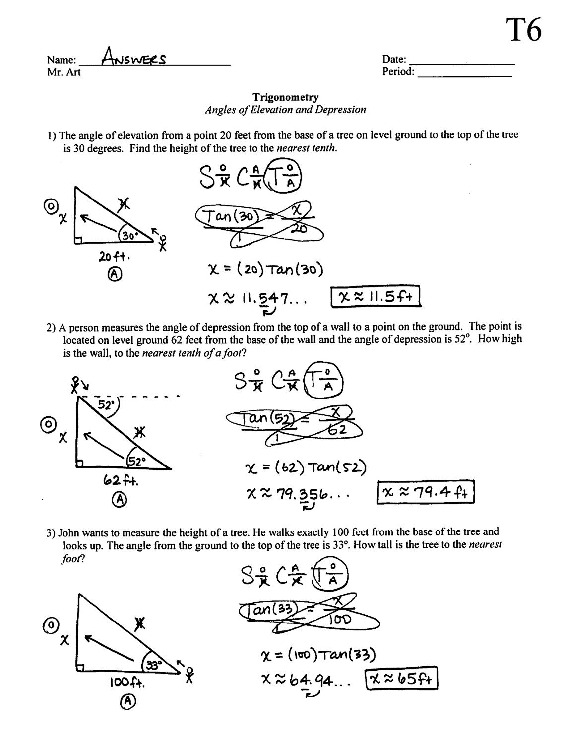 50 free Magazines from MRARTWIKISPACESCOM – Angles of Elevation and Depression Worksheet