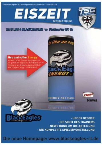 Stadionzeitung Eiszeit Black Eagles Reutlingen vs.  Stuttgart 1b