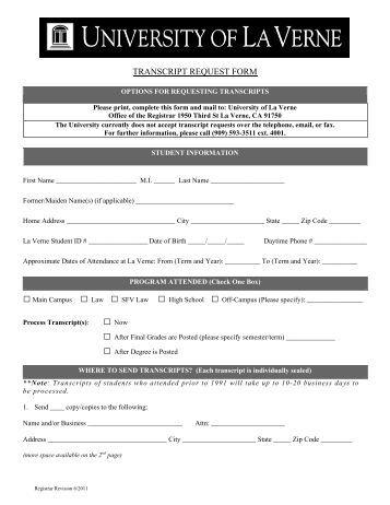 Transcript Request Forms
