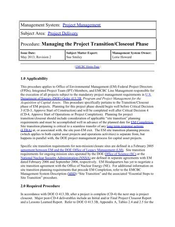 Managing the Project Transition/Closeout Phase - emcbc - U.S. ...