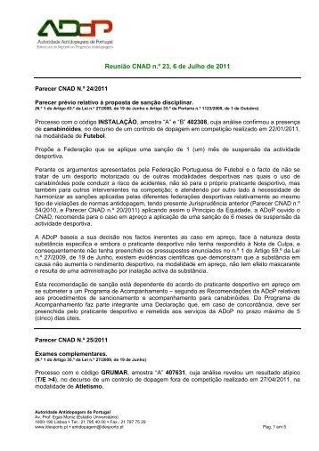 Reunião CNAD n.º 23, 6 de Julho de 2011 - Instituto do Desporto de ...