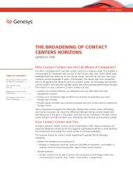 The Broadening of ConTaCT CenTers horizons - Call Centre