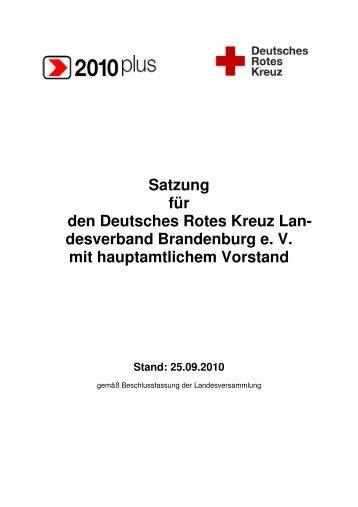 Satzung für den Deutsches Rotes Kreuz Lan - DRK Landesverband ...