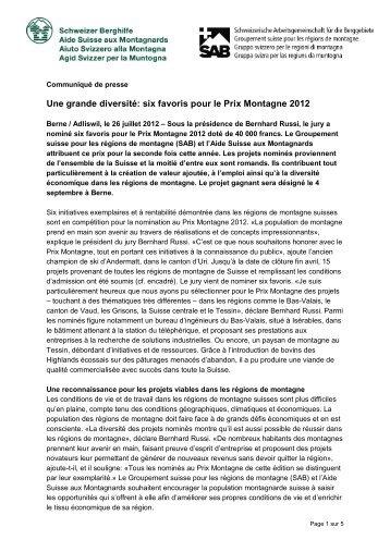 six favoris pour le Prix Montagne 2012 - Berggebiete.ch