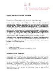 Rapport annuel du président 2008/2009
